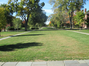 The vast campus green space