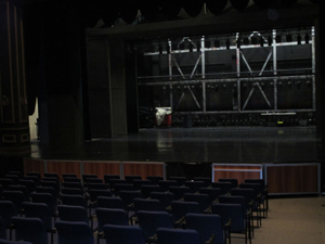 Inside the campus theater
