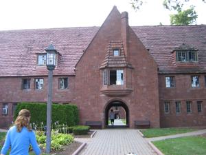 The school's cobblestone walkway