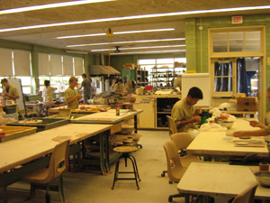 Students at work on the arts