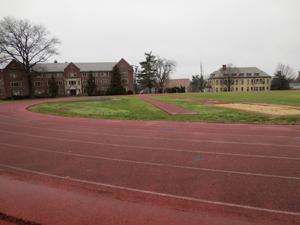 A large track circles the quad