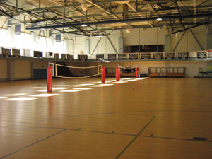 Volleyball courts in the gym