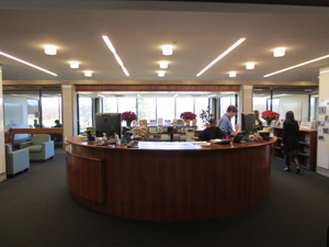 Front desk at library