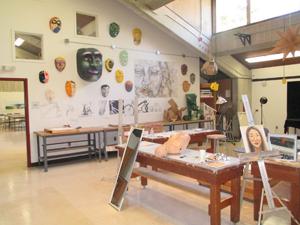 Inside an art classroom