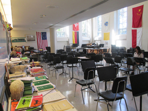 A student in music classroom
