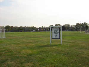 Athletic field with soccer nets