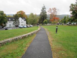 A walkway through campus