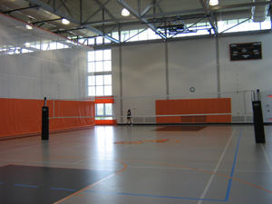 Volleyball court inside gym