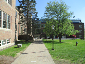 Walkway to classroom building