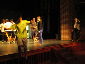 Students performing on stage