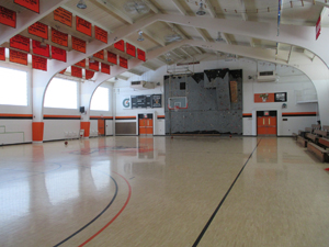 Inside the gymnasium