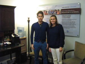 Our student with admissions director