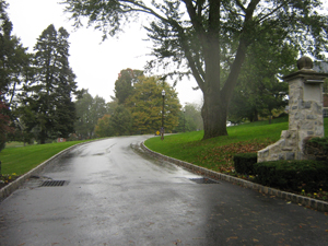 Winding driveway leading to campus
