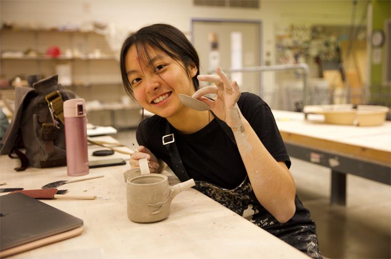 Kayla in ceramics class