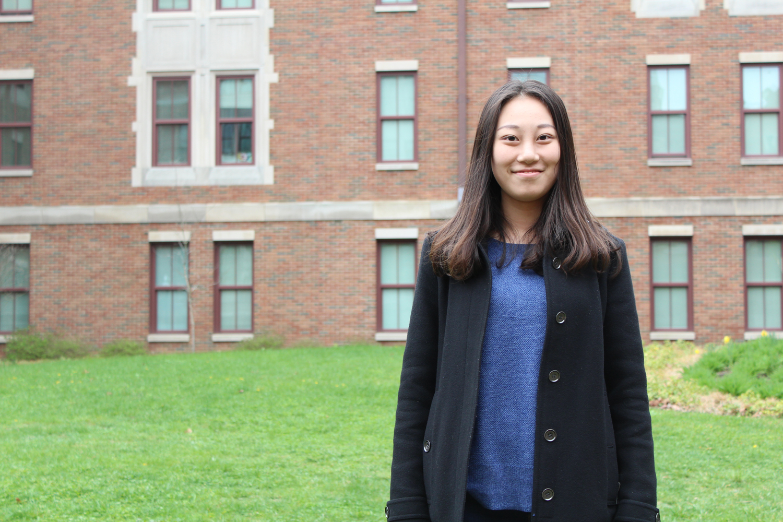 Lucy poses at Vanderbilt campus